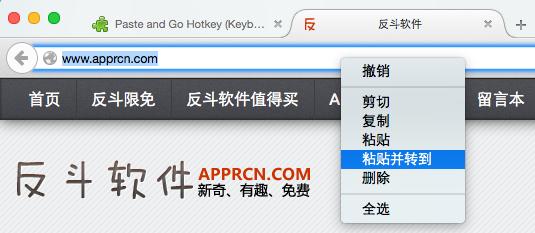 Paste and Go Hotkey - 添加「粘贴并转到」的快捷键[Firefox 扩展]丨www.apprcn.com 反斗软件