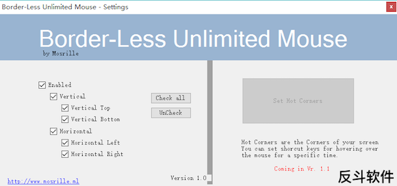 Border-Less Unlimited Mouse - 让鼠标在屏幕上没有边界丨www.apprcn.com 反斗软件