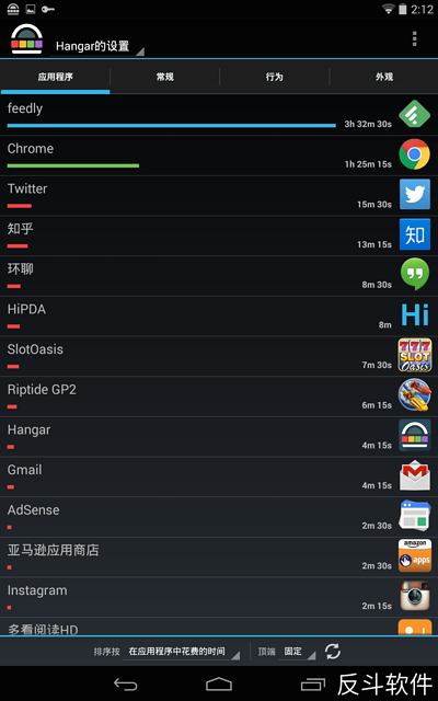 Hangar - 知晓自己用哪个应用最多次,哪个应用最长时间[Android]丨www.apprcn.com 反斗软件