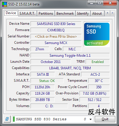 SSD-Z - 查看 SSD 固态硬盘信息丨www.apprcn.com 反斗软件